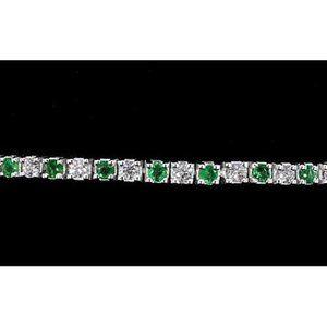 Jewelry - Diamond Tennis Bracelet Green Sapphire 6 Carats